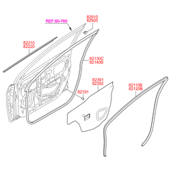 Уплотнитель стекла (Hyundai-KIA) 822101R000