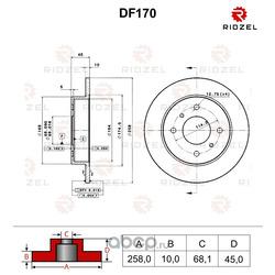 Диск тормозной задний (невентилируемый) (RIDZEL) DF170