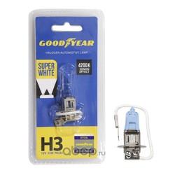 Лампа автомобильная галогенная н3 12v 55w pk22s super white (блистер) (GOODYEAR) GY013127