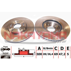 Тормозной диск передний вентилируемый (Nakayama) Q4599