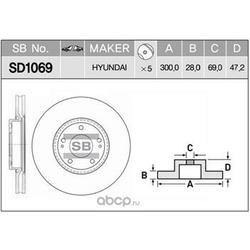 Диск тормозной (Sangsin brake) SD1069