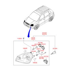 Патрон лампочки фары (Hyundai-KIA) 921663K000