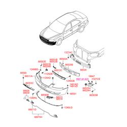 Защитная решетка левой противотуманной фары (Hyundai-KIA) 865233K000