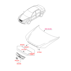 Решетка радиатора (Hyundai-KIA) 863503K010