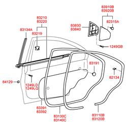 Угловая накладка двери (Hyundai-KIA) 838303D020