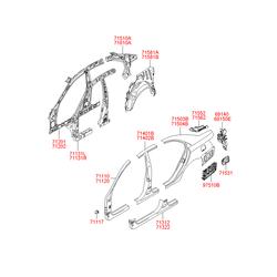 Средняя панель кузова (Hyundai-KIA) 714023KB01