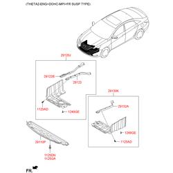 Защитная панель моторного отсека (Hyundai-KIA) 291204U000AS