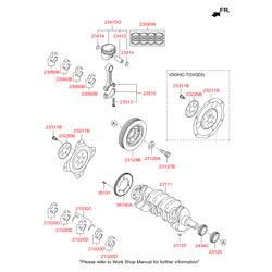 Комплект подшипников скольжения коленвала (5шт) (Hyundai-KIA) 210202G130