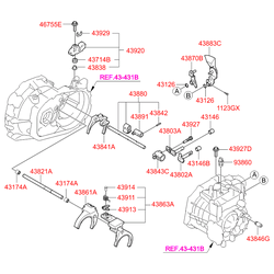 Рычаг привода переключения передач (Hyundai-KIA) 4380239300