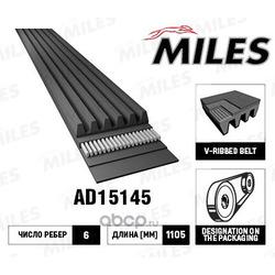 Ремень поликлиновой 6pk1105 (Miles) AD15145