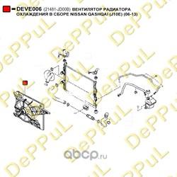 Вентилятор радиатора охлаждения в сборе (DePPuL) DEVE006