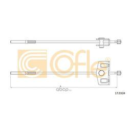 Трос стояночного тормоза передний (Cofle) 170324