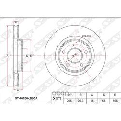 Диск тормозной передний (Sat) ST40206JD00A