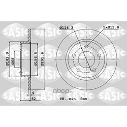 Диск тормозной задний (Sasic) 6106065