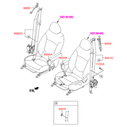 Ремень безопасности (без защелки) (Hyundai-KIA) 888804L000RY