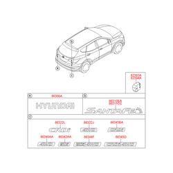 Эмблема декоративная пластиковая (Hyundai-KIA) 863212W000