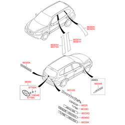 Эмблема декоративная пластиковая (Hyundai-KIA) 863402B500
