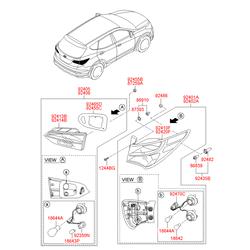 Фонарь левый (крышки багажника) (Hyundai-KIA) 924052W130