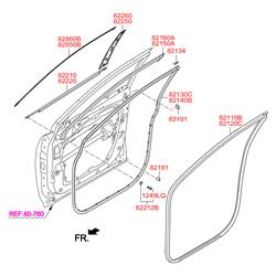 Уплотнитель стекла двери (Hyundai-KIA) 822102W000