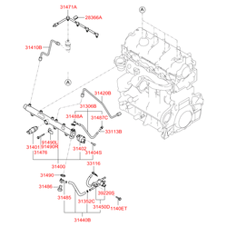 Трубка топливных форсунок (Hyundai-KIA) 3140027001