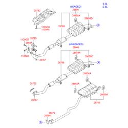 Труба выхлопная с глушителем в сборе (Hyundai-KIA) 2861026210