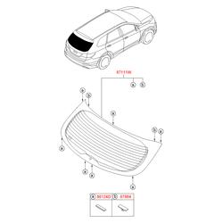 Стекло багажной двери с электрическим обогревом (Hyundai-KIA) 87110B8000