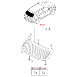 Стекло багажной двери с электрическим обогревом (Hyundai-KIA) 871102W500