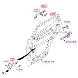 Ручка двери металлическая (Hyundai-KIA) 836512W010