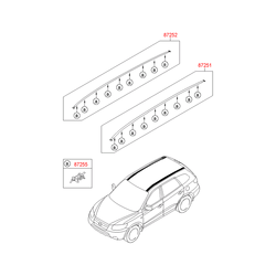 Рейлинг крыши кузова правый (Hyundai-KIA) 872802B1002Z