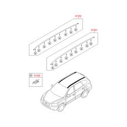 Рейлинг крыши кузова (Hyundai-KIA) 872702B100X2