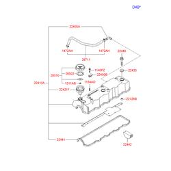 Прокладка клапанной крышки двигателя (Hyundai-KIA) 2244338002