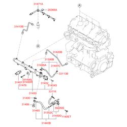 Патрубок топливной системы обратный (Hyundai-KIA) 3147127003