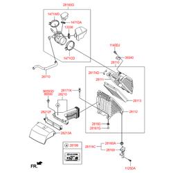 Патрубок воздушного фильтра резиновый (Hyundai-KIA) 281302W100