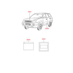 Наклейка с технической информацией (Hyundai-KIA) 3240127920