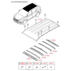 Кузовной кронштейн крепления крыши (Hyundai-KIA) 673232W000