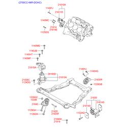 Кузовной кронштейн крепления двигателя к подрамнику моторного отсека (Hyundai-KIA) 2161038219