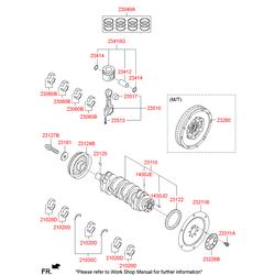 Комплект подшипников скольжения коленвала (Hyundai-KIA) 210202F900