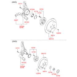 Комплект подшипника ступицы колеса (Hyundai-KIA) 527183A000