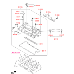 Клапанная крышка головки блока цилиндров (Hyundai-KIA) 224102F002