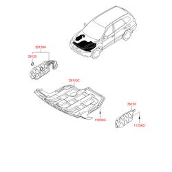 Защитная панель моторного отсека (Hyundai-KIA) 291302B150