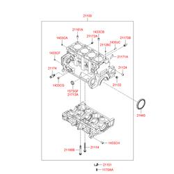 Блок цилиндров в сборе, 4 цилиндровый (Hyundai-KIA) 2110027850