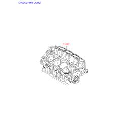 Блок цилиндров в сборе (Hyundai-KIA) 2110227A01B