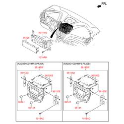 Автомагнитола в сборе (radio+cd+mp3) (Hyundai-KIA) 96170B87004X