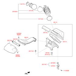 Воздуховод системы вентиляции (Hyundai-KIA) 282122W100