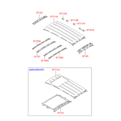 Поперечина панели крыши (Hyundai-KIA) 6714026200