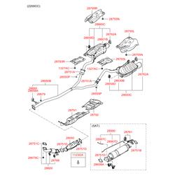 Глушитель с выхлопной трубой (Hyundai-KIA) 287012B551S