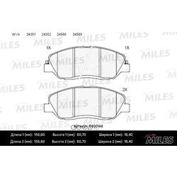 Колодки тормозные передние (Miles) E400148