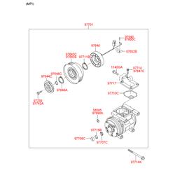 Кожух шкива компрессора кондиционера (Hyundai-KIA) 9764439000