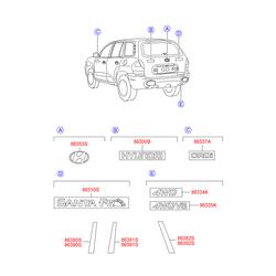 Наклейка стойки двери передней правой (Hyundai-KIA) 8639026001