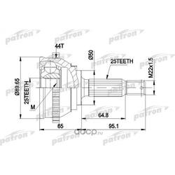 Шрус наружный (комплект) (PATRON) PCV1370